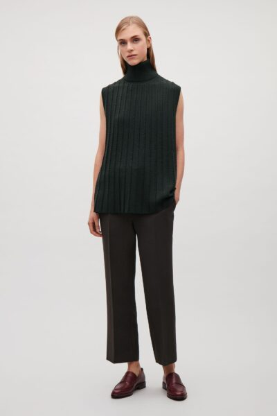 cos-Khaki-green-Knitted-Top-With-Scalloped-Pleats