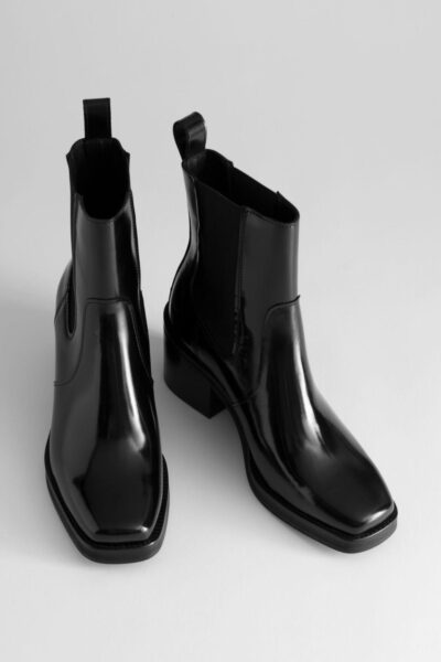 other-stories-designer-Black-Square-Toe-Leather-Boots