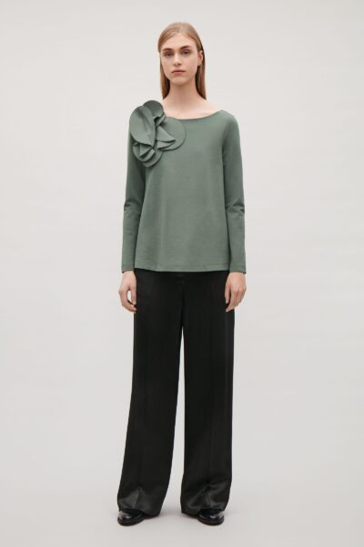 cos-Khaki-green-A-line-Top-With-Applique-Detail (4)